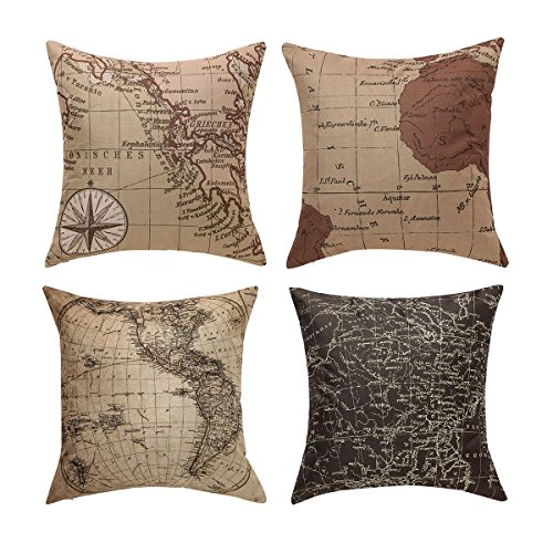Uther Throw Pillow Case Square Decorative Map Art Pillow Cases Couch Covers for Home Set of 4 18 x 18 Inch