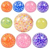YIQUDUO 10 Pcs Squeeze Squishy Ball Sets Stress Relief Fidget Balls with Water Beads, New Combination with Different Size (1 Large + 3 Middle +6 Small)