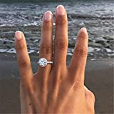 Rnydrny Sparkling Simulated Diamond Ring 925 Sterling Silver Round White CZ Diamond Jewelry Anniversary Proposal Gift Party Bridal Engagement Wedding Rings for Bride Women (6)