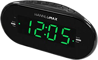 HANNLOMAX HX-123CR Alarm Clock Radio, PLL AM/FM Radio, Green LED 1.2 Inches Display, Dual Alarms, Dimmer