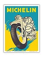 ミシュランマン - オートバイタイヤ - ビンテージな広告ポスター c.1959 - アートポスター - 23cm x 31cm