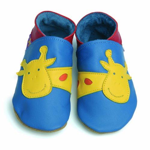 George Giraffe bleu Starchild cuir souple chaussures de bébé (moyen 6-12 mois EU 20 UK 3)