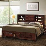 Roundhill Furniture Asger Wood Platform Bed, King, Antique Oak Finish