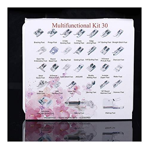 XINGJIJIJIA Ajustable 32/42/52 / 62pcs de Coser Nacional Patas de la máquina Presser Set de Costura de la máquina de Coser del pie Juegos de Accesorios de Prop Calidad (Color : 30pcs Plastic Box)