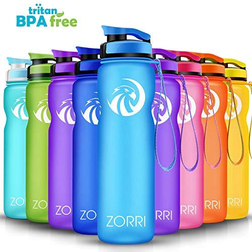 ZORRI Sport Trinkflasche auslaufsicher, BPA Frei & Umweltfreundlich Wasserflasche Für Kinder & Frauen, One Handed Open & Tritan, Für Gym/Outdoor/Camping - Blau - 1000ml