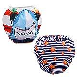 Xrten 2 Pcs Pañal de Natación para bebés, Pantalones de Entrenamiento Ajustable y Reutilizable, Pañal bañador de Tela para Bebés Niños