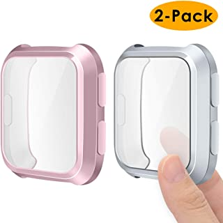 EZCO Compatible Fitbit Versa Screen Protector Case (2-Pack), Soft TPU Plated Case All-Around Protector Screen Cover Bumper Compatible Fitbit Versa Smart Watch, Rose Pink+Silver