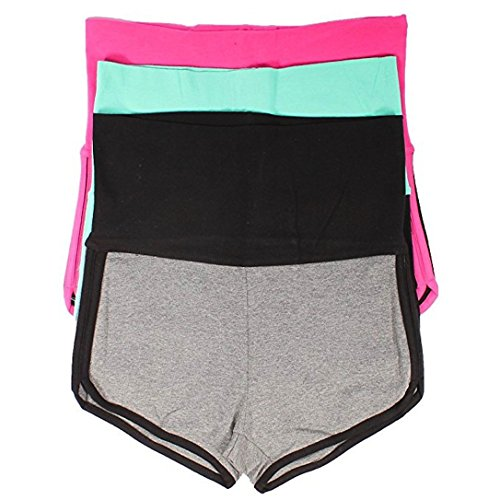 Mopas 3 Pack Yoga Two Tone Dolphin Shorts (Medium)