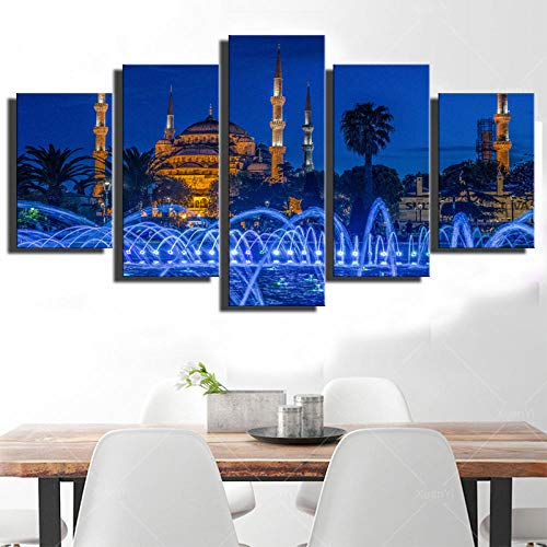ZDDYX Five Canvas Painting Modern Home Decoration HD Wall Art Pictures Poster Print Islamic Church Mosque and Fountain Landscape Modular Frame,20x35 20x45 20x55(cm) Framed