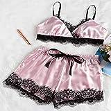 Pijamas de Raso de Encaje Pijamas de Primavera y Verano Pantalones Cortos sin Mangas para Damas Pijamas de Mujer 3 L