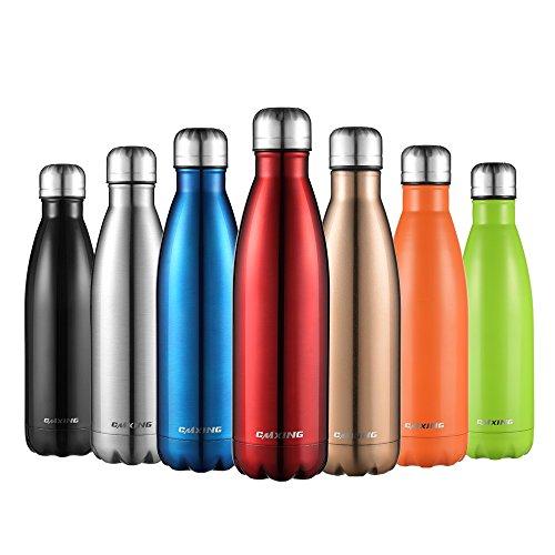 cmxing Doppelwandige Thermosflasche 500 mL mit Tasche BPA-Frei Edelstahl Trinkflasche Vakuum Isolierflasche für Outdoor-Sport Camping Mountainbike (Rot, 500 mL)