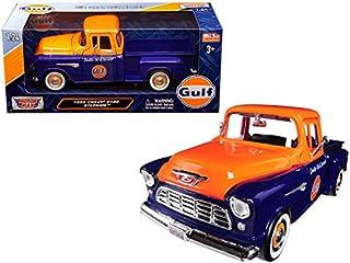 Motormax 1955 Chevrolet 5100 Stepside Pickup Truck Gulf Dark Blue and Orange 1/24