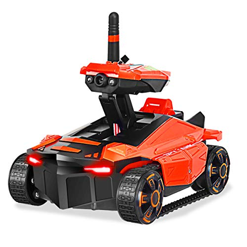 Costzon Rechargeable RC Tank Car,Mini WiFi Spy Rover Tank, App-Controlled Car Video Recorder Support, Gift for Boys Girls Teens and Children (Orange)
