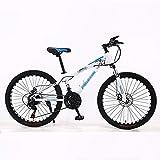 FXPCYGZ Bicicleta 24 Pulgadas 21 velocidades Frenos de Doble Disco Velocidad Bicicleta de montaña Estudiante Adulto Coche Hombres y Mujeres Marco de Acero al Carbono Pedal Resistente al(Blue)