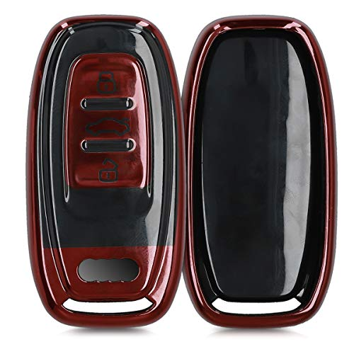 kwmobile Autoschlüssel Hülle kompatibel mit Audi 3-Tasten Autoschlüssel Keyless - TPU Schutzhülle Schlüsselhülle Cover in Hochglanz Rot