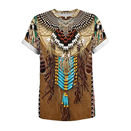 Hauts de Mode 3D pour Hommes T-Shirt à Manches Courtes imprimé Style Ethnique décontracté T-Shirt à col Rond Vintage Blouse Tops pour Les fêtes de Fin d'année