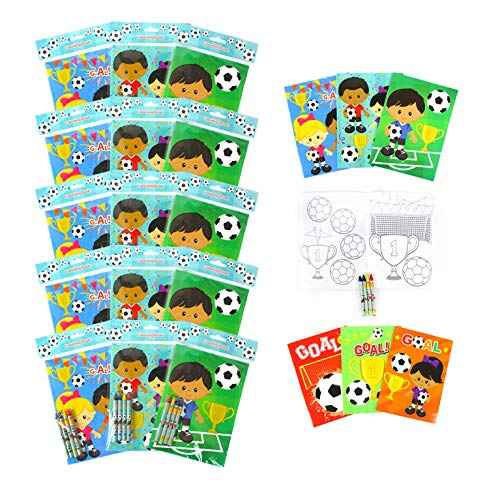 TINYMILLS Soccer Coloring Books for Kids with 12 Coloring books and 48 Crayons, Fun Team Birthday Party Favors, Goodie Bag Stuffers, Prizes, Favor Bag Filler, Team Party Prizes