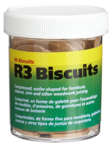 wolfcraft 2995404 Compressed Wafer Shaped Wood Joining Biscuits for Joining Wood Pieces, #R3, 90 Piece Jar
