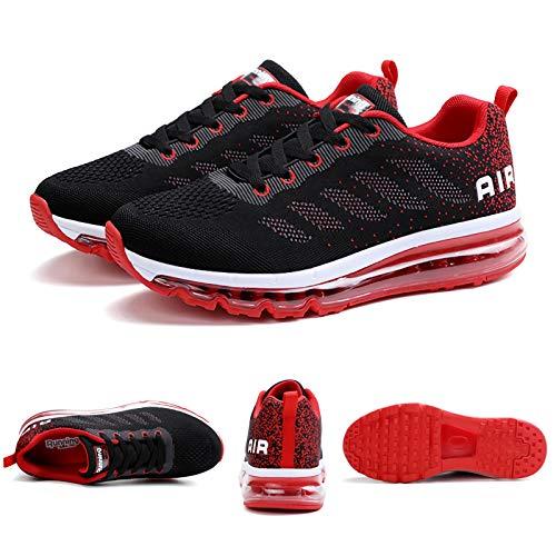 Smarten Zapatillas de Running Hombre Mujer Air Correr Deportes Calzado Verano Comodos Zapatillas Sport Black Red 40 EU