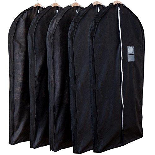 アストロ 洋服カバー マチ付 5枚 スーツサイズ 黒 不織布 ファスナー 透明窓 防虫剤ポケット付き 底までカバー 110-45