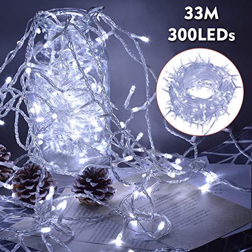 Ipow 33M Cortina de luz 300 LEDs exterior e interior, Guirnalda luces led decoracion con enchufe, 8 modos perfecto para fiestas, bodas, jardines, árboles, habitaciones, navidad, Blanca Fría