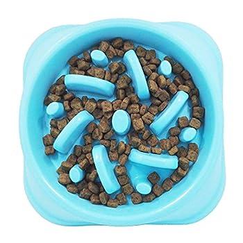 Txyk Gamelle d'alimentation Lente pour Chiens, Alimentation Ralentie et Interactive pour Les Animaux Bleu Durable de Cuvette d'eau de Boisson d'animal familier antidérapant