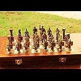 Metal Latón Juego de ajedrez con Las Figuras Romanas y Tablero de ajedrez de Madera.