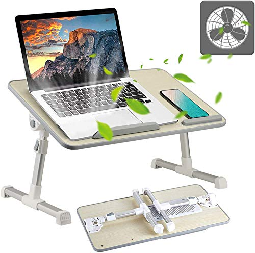 Foldable Laptop Desk with Fan, AdjustablUpdated Laptop Stand with Adjustable Legs for Reading & Writing in The Bed, Premium Laptop Desk