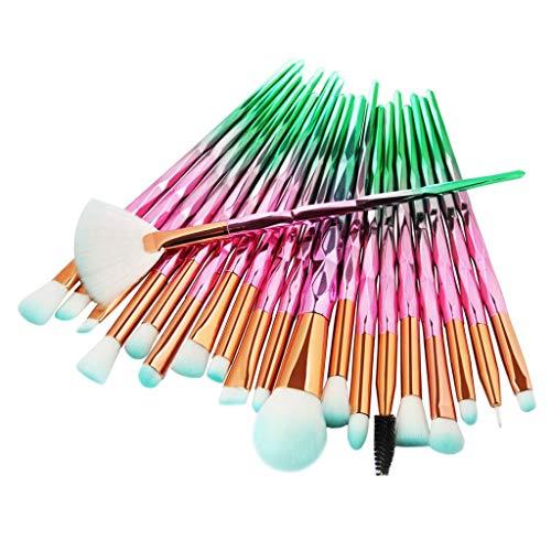 F Fityle Unicornio Eye Brush Set Sombra de Ojos Eyeliner Blending Crease Kit Foundation Powder Labio Corrector Cosmético Ceja Blush Pinceles Cosméticos - Diamante Rosa Verde