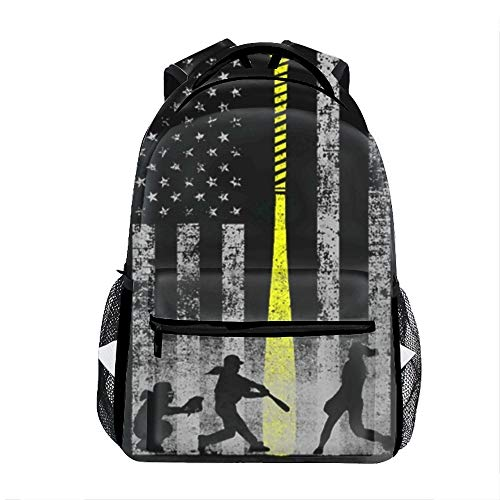 Casual Backpack Softball Flag Print School Bag Travel Backpacks