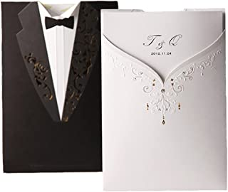 WISHMADE Printable Blank 50 Pack Black and White Laser Cut Wedding Invitations, Groom and Bridal Wedding Invites with Envelopes, for Engagement Bridal Shower