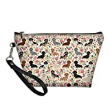 Cozeyat Dachshund Floral Cosmetic Bag Dachshund Gifts Portable Cosmetic Storage Case Travel Handy Organizer Pouch Clutch for Women