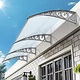 Aiboria Pensilina Tettoia,Porta Tettoia Pensilina Copriporta ombra esterna per tetto patio protezione UV Tettoia Pensilina in Policarbonato per tetto patio,balcone,finestra,facciata (100*300cm)