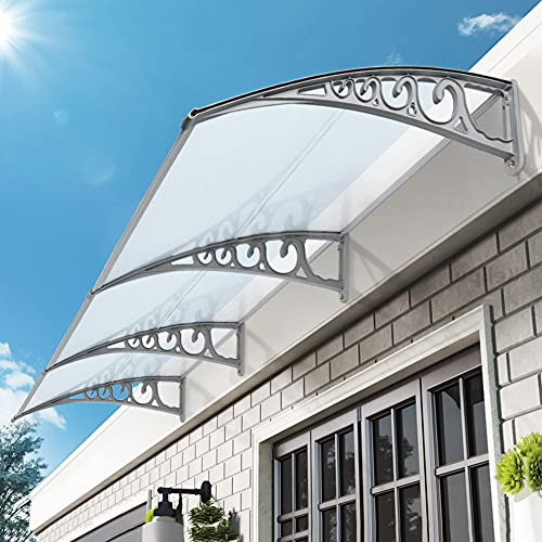 Aiboria Marquesina de policarbonato para techo, techo, techo, techo, techo, puerta, ventana, fachada (100 x 300 cm)