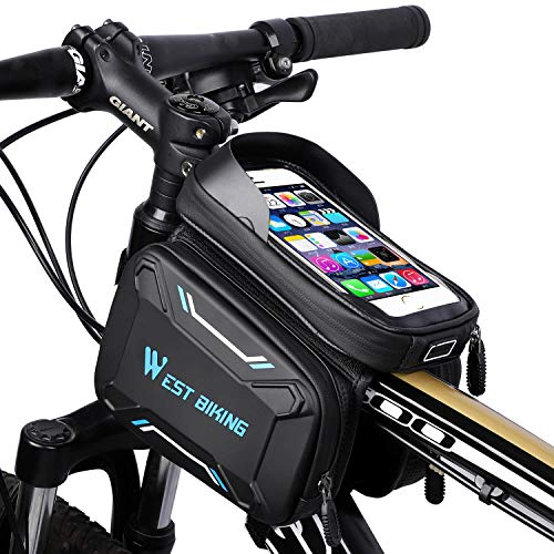 Fahrradtasche, Fahrrad Rahmentasche, Fahrrad Handytasche, Empfindlicher Touchscreen, Oberrohrtasche Handy Tasche, Wasserdicht, Radfahren Vorne Top Tube,Mountain Bike,Kopfhörerloch für 6.2Zoll Handy