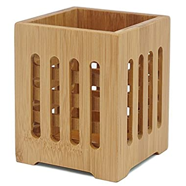 Well Weng Bamboo Utensil Holder Crocks Flatware Organizer (4x5.5)