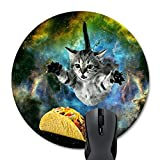Wknoon Curious Cat Flying Through Space Reaching for a Taco in Galaxy Space Hilarious Round Mouse Pad