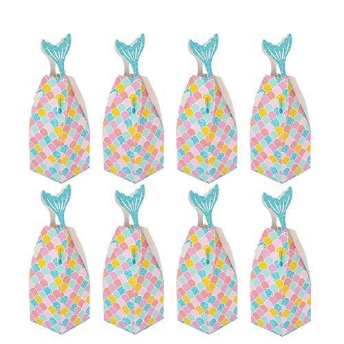 INTVN Sirena Regalo Cajas, 30 Piezas Caja Caramelos Bolsa de Regalo de Cumpleaños Fiesta DIY Manualidades Cajas - para los Niños Parte Sirena Suministros Baby Shower Decoraciones de Cumpleaños
