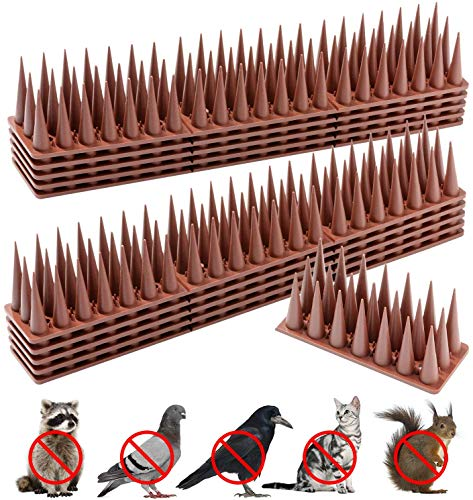 Huttoly Bird Spikes, Defender Spikes for Bird Cat Squirrel Raccoon Animals Repellent to Keep Off Pigeon Crow, Plastic Spikes Fence to Defender Birds and Small Animals Security for Railing and Roof