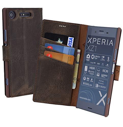 Suncase Book-Style (Slim-Fit) für Sony Xperia XZ1 Ledertasche Leder Tasche Handytasche Schutzhülle Case Hülle (mit Standfunktion und Kartenfach) antik braun