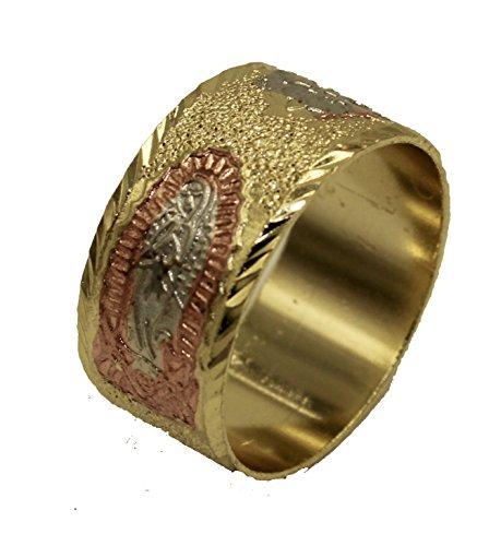Diamantados of Fla Virgen de Guadalupe Morenita - Anillo chapado en oro de 18 quilates, 3 tonos, talla 9