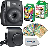 Fujifilm Instax Mini 11 Instant Camera - Charcoal Grey (16654786) + Fujifilm Instax Mini Twin Pack Instant Film (16437396) + Single Pack Rainbow Film + Case + Travel Stickers