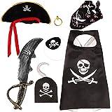 vamei 7 Stück Piraten Kindergeburtstag Augenklappe Kinder Piraten Zubehör Bandana Kopftuch Pirat für Party Halloween Karneval (B)