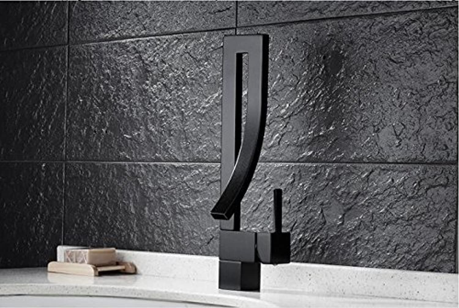 Aawang Deck Mount Black Curved Spout Basin Sink Faucet Creative Design Bathroom Mixers With Hot And Cold Water Lavatory Sink Taps Black