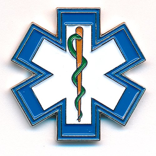 EMT Star of Life reddingsdienst eskulapstaaf 3D metalen button pin stekker 0500