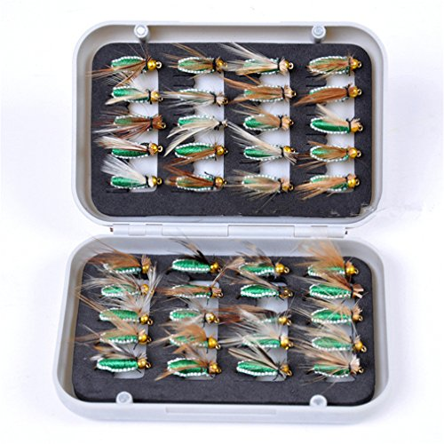 JasCherry 40 Piezas Moscas de Pesca Moscas Artificiales Señuelos de Mosca Señuelos de Pesca con Mosca con Caja Impermeable, Pescar Perca Trucha Bacalao Accesorios de Pesca
