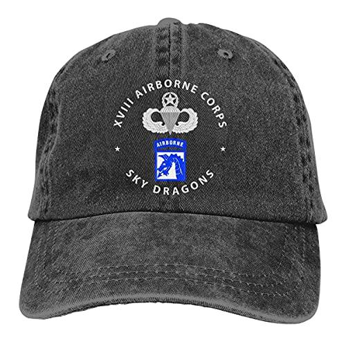 Gorras de béisbol unisex unisex para adultos, gorra deportiva 18th Airborne Corps Master Paracaidista Badge ajustable Trucker Retro Fashion Wash Cowboy Hat Dad Hat Truck Hat Outdoor Black