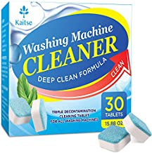 Kaitse Washing Machine Cleaner Effervescent Tablets, Solid Washer Deep Cleaning Tablet, Triple Decontamination Remover with Natural Biological Formula, for Front Load and Top Load Washers 30 Count