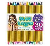 Kinderschminke Set Face Paint von Blue Squid, Hochwertiges Kinder Schminkset Ideal für Partys Mädchen, Schablonen, Glitzer, Gesichtsfarben, Halloween & Fasching, Professionellemit Kinderschminke