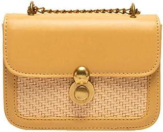 Women Cross Body Bag Leather Retro Chains Yellow